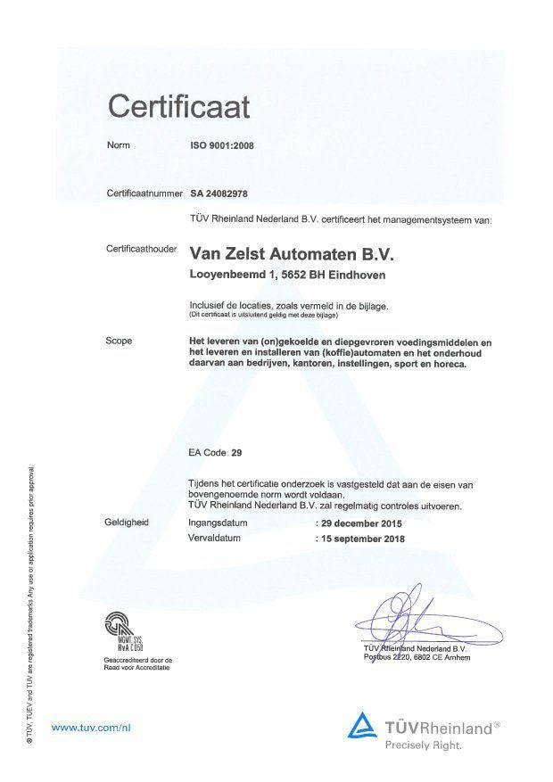 ISO 9001 certificaat Van Zelst Automaten